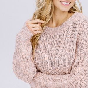 Mauve Melange Scalloped Sweater